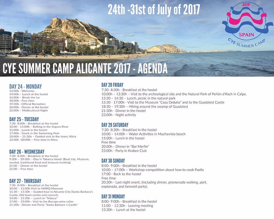 CYE Summer Camp Alicante 2017 - Agenda